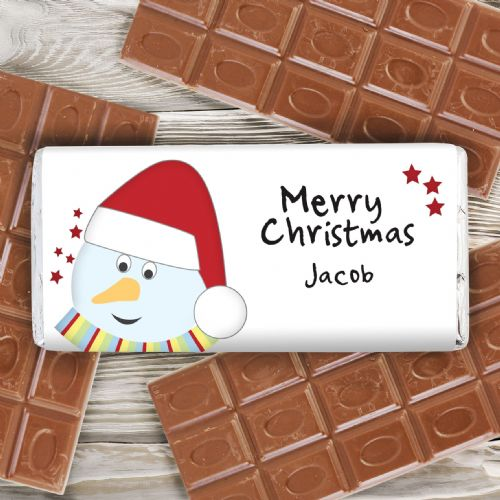 Personalised Snowman Chocolate Bar